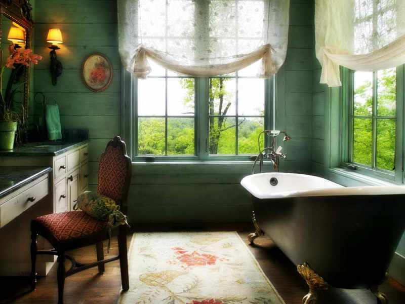 Bathroom-window-treatments-ideas-with-design-wooden-wall-and-comfortable-seats-also-wall-lights-800x600