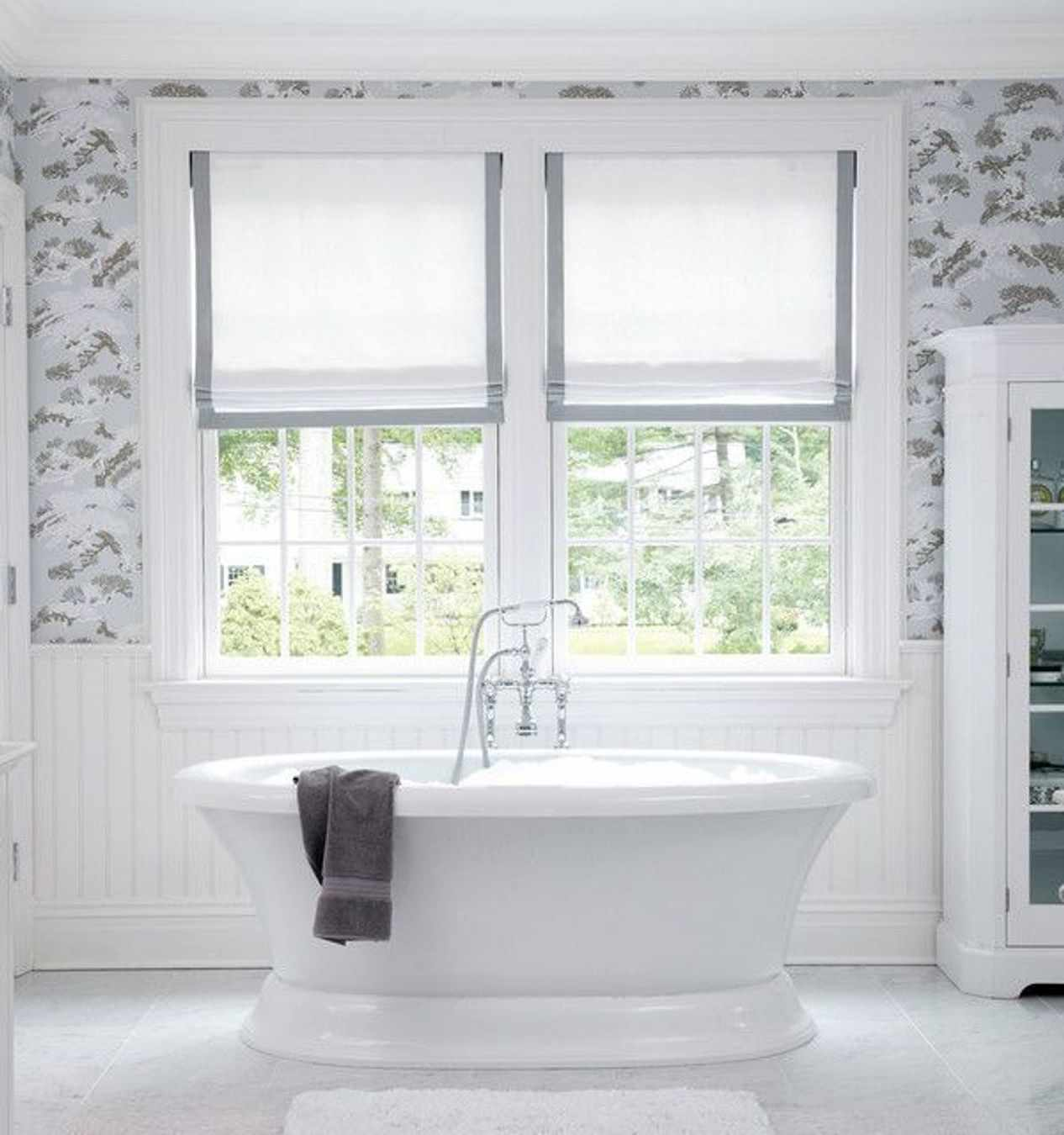 Modern bathroom window curtain ideas - Grey Bathroom Curtains Nice White And Grey Roman